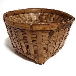 Wicker Woven Basket Square Bottom Cottagecore